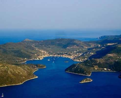 sailing cruises in greece itaca aerial