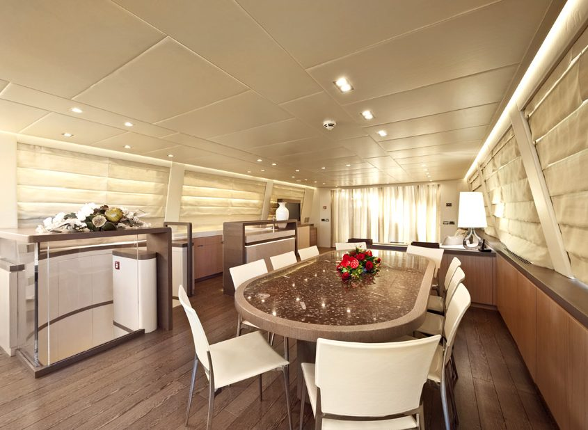 musa ab yachts interior salon table